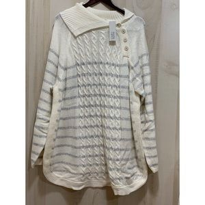 Croft & Barrow High Neck Side Button Sweater 4X